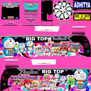 Download Livery Bus Bintang Timur Big Top Doraemon