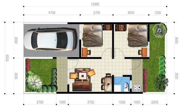 Denah Rumah Minimalis Idaman Sederhana Type 36