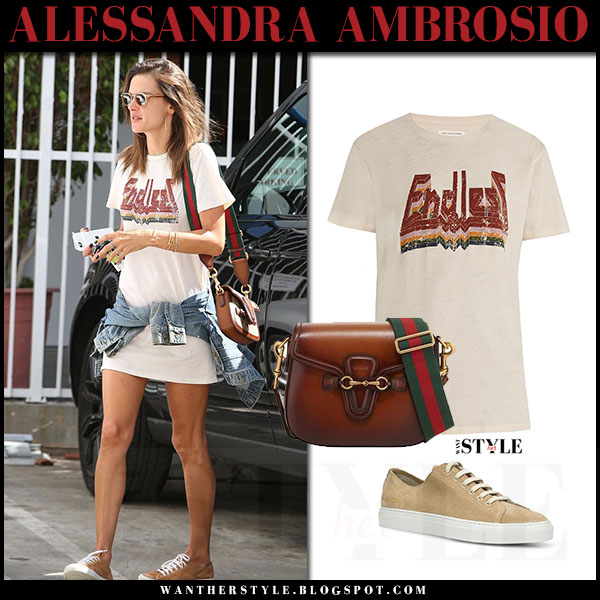 Alessandra Ambrosio in ivory endless print t-shirt isabel marant dewel and suede sneakers what she wore model style