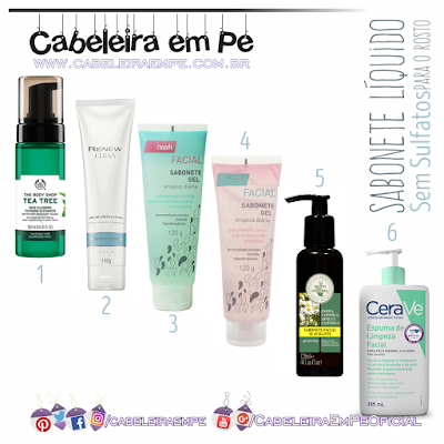Sabonetes faciais (líquidos, em gel ou espuma) sem sulfatos das marcas The Body Shop, Avon, Needs, Multi Vegetal e CeraVe - Low poo para o rosto