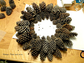 Vintage, Paint and more... diy pine cone wreath made on a budget
