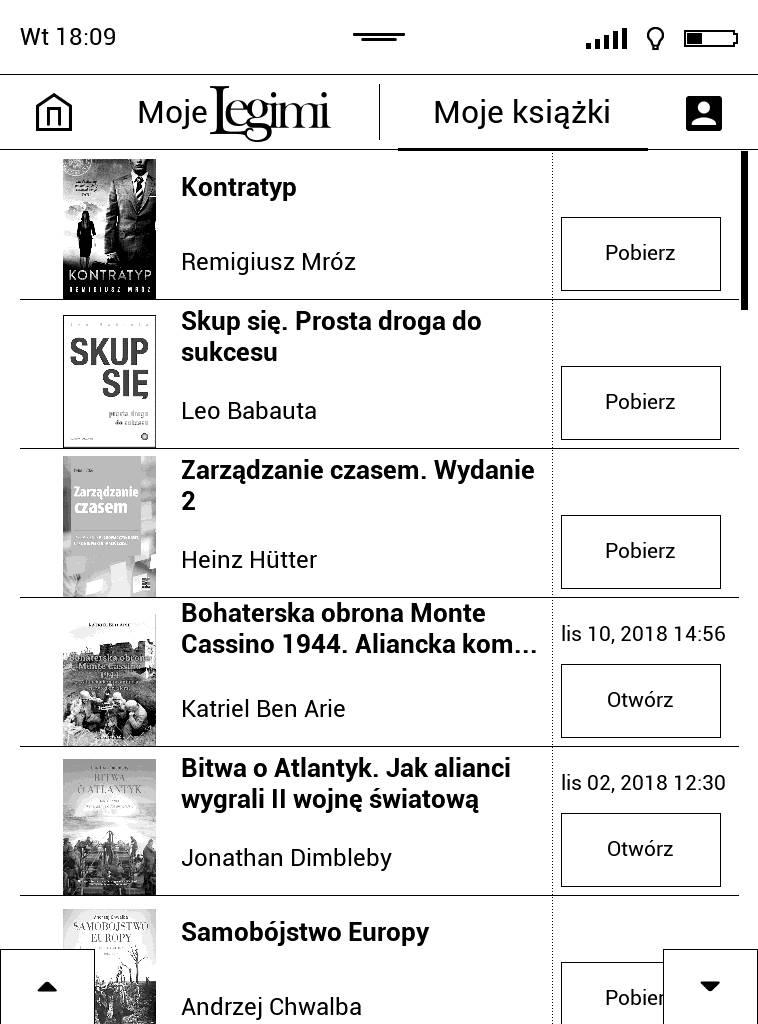 PocketBook Touch Lux 4 – widok listy ksiązek dodanych do półki w aplikacji Legimi