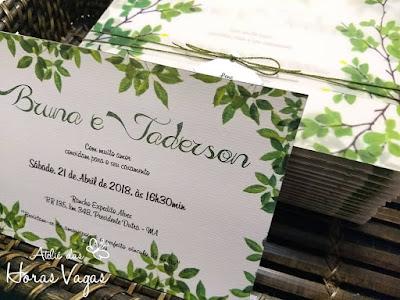 convite de casamento artesanal personalizado tropical estampa folhagem folhas verdes rústico sofisticado delicado envelope vegetal luxo diferenciado