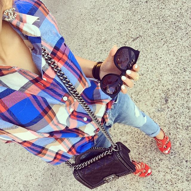 J crew plaid shirt, 7fam boyfriend jeans, chanel boy bag, Giuseppe zanotti sandals, chanel earrings, karen walker sunglasses, hermes bracelet, fashion blog