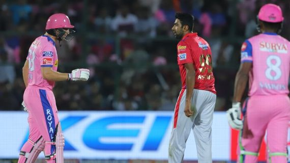 Jos Buttler and R Ashwin have an exchange after the mankading incident