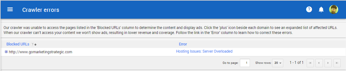 how to fix adsense crawler errors