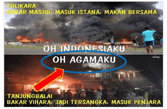 Pembakar Masjid Diundang ke Istana, Pembakar Vihara Masuk Penjara