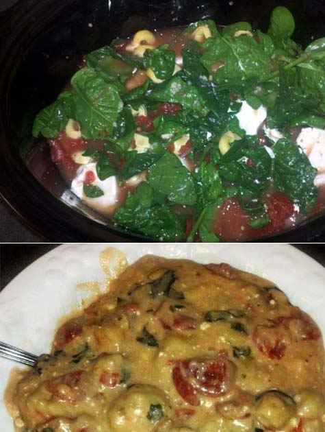 Slow-cooked creamy tortellini and spinach soup
