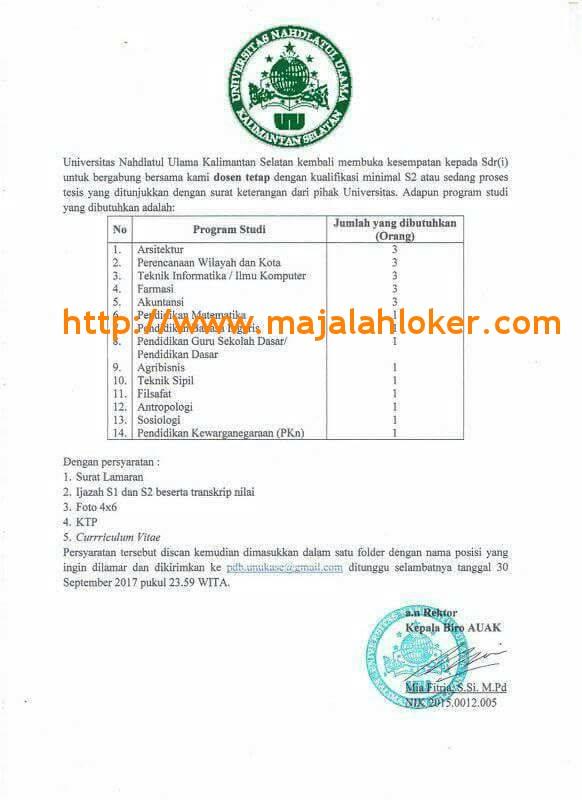 Lowongan Dosen Universitas Nahdlatul Ulama Kalimantan Selatan