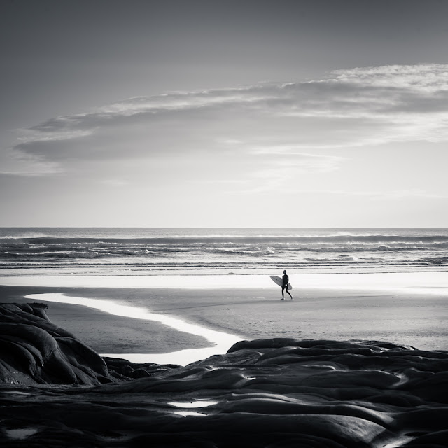 Black and white beach editing in lightroom - before and after examples