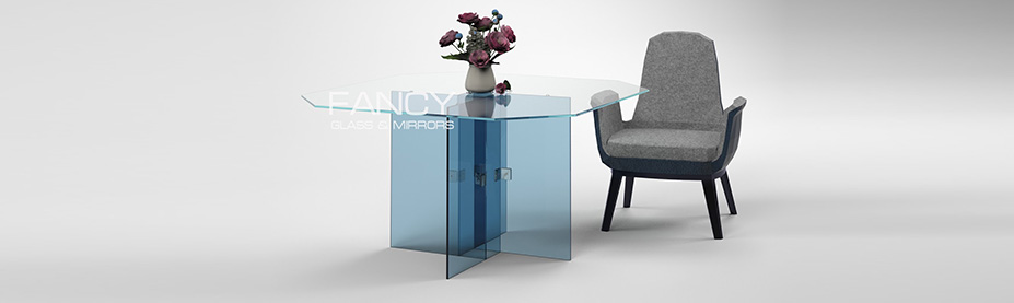 Square dining glass table anvert