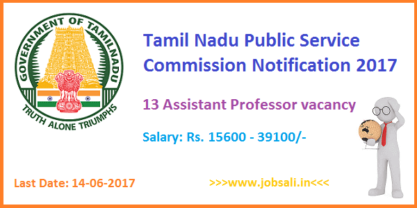 TNPSC Exams 2017 Notification, Assistant Professor Vcancy, TNPSC jobs 2017
