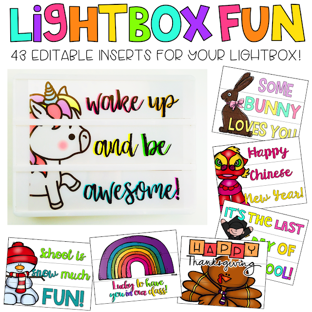 Lightbox Inserts for the Classroom