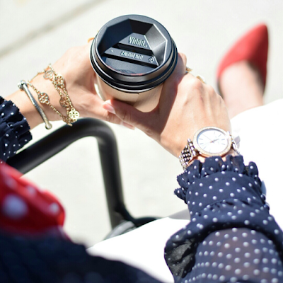 Navy Polka Dot Top Work Outfit Michael Kors Watch