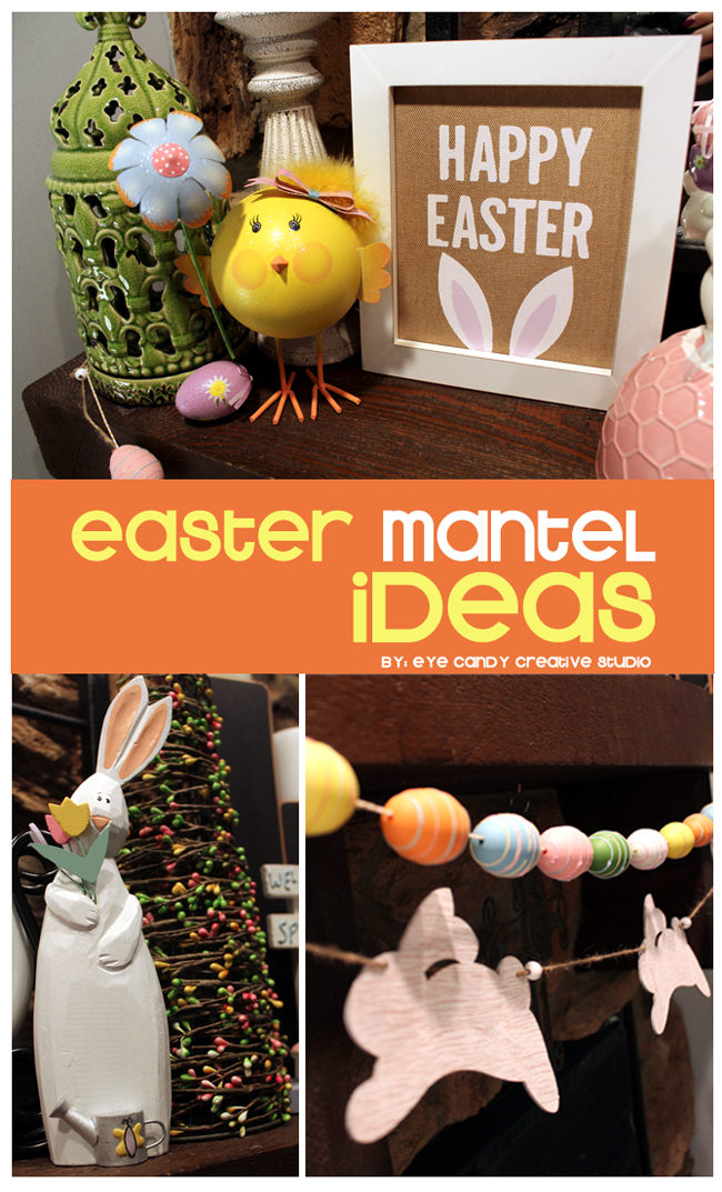 easter mantel ideas, easter decor, mantel decorating, egg garland, bunny
