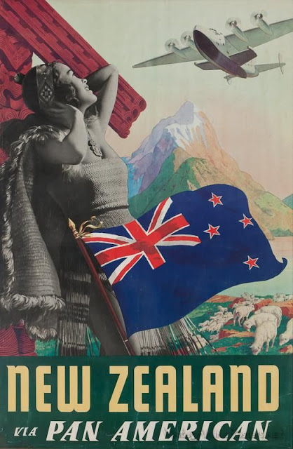Vintage travel poster. New Zealand via Pan American. Laser Kiwi. marchmatron.com.