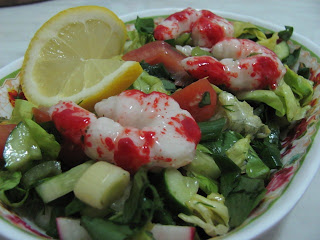 salad and shrimps with lemon
