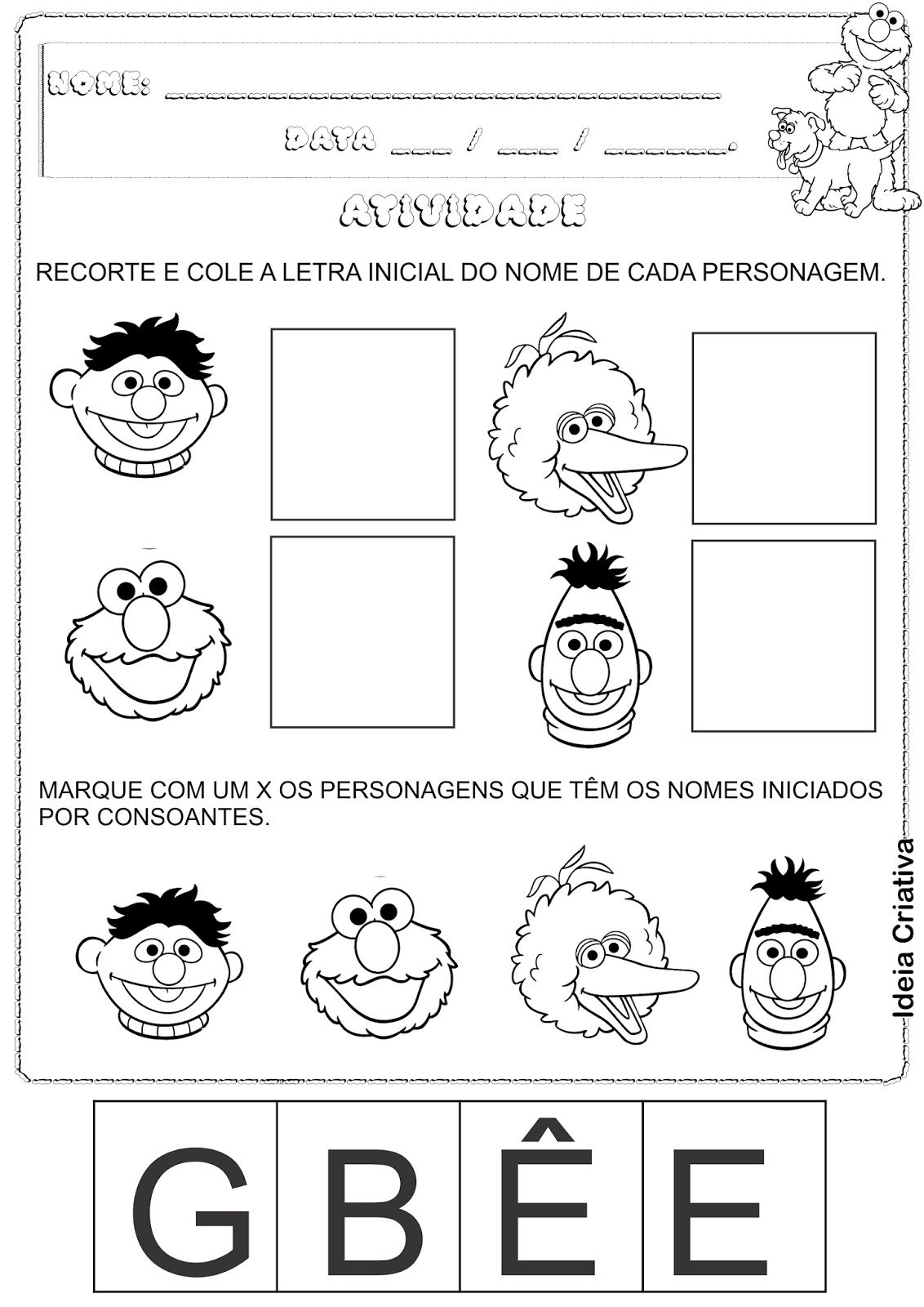 Atividade Vila Sésamo Vogais consoantes e letra inicial