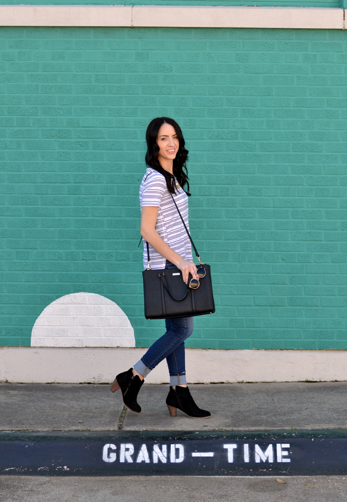 Striped Tee and booties for a casual look