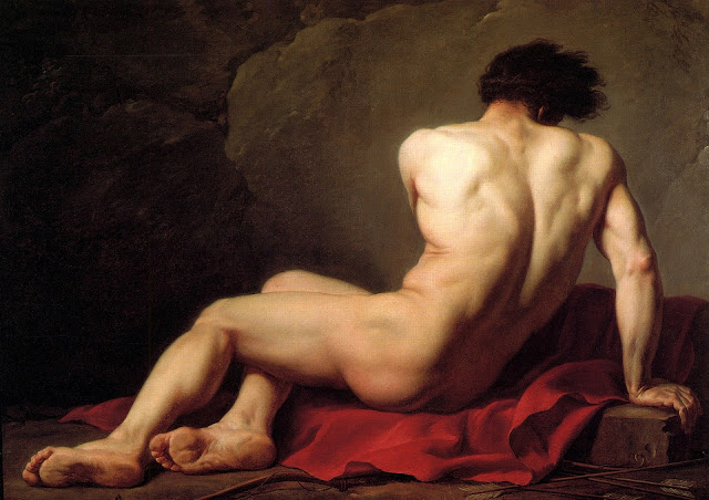 painting of a man on a red sheet.