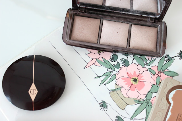 Hourglass ambient lightling palette, too faced peanut butter and jelly palette, ingot, charlotte tilbury blush, laura mercier caviar stick, monthly favourites