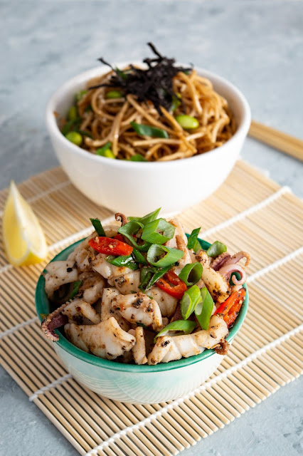 Salt and pepper squids and fried noodles with edamame beans