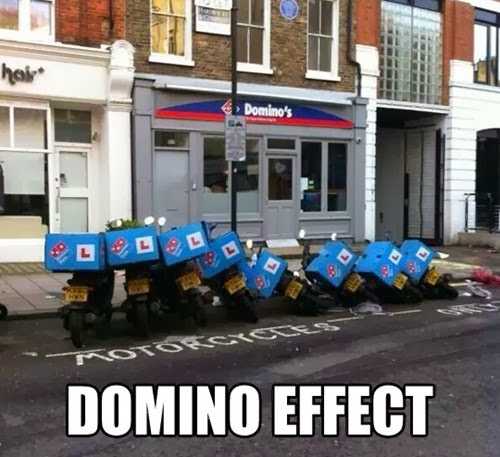 domino pizza motorbikes in a row fallen over like dominoes funny fail