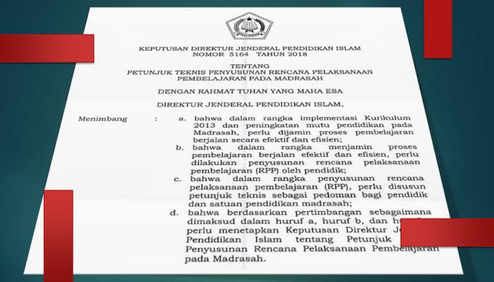 Juknis Terbaru Penyusunan RPP Pada Madrasah Dirjen Pendis Nomor 5164 Tahun 2018