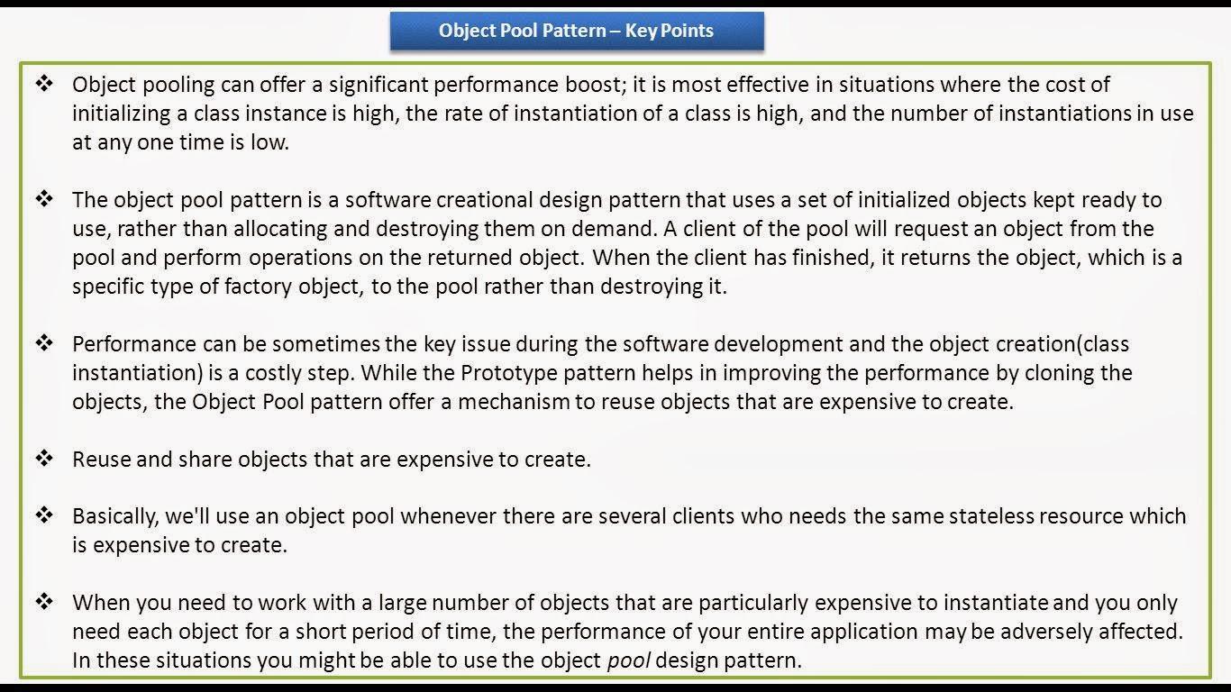 Java ee object pool design pattern keypoints for Pool design pattern java