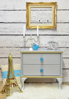 Metallic Night Stand from repurposed MCM Legless Cabinet