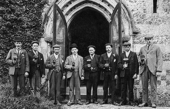 Photograph of the bell ringers in about 1900. W. Nash, G. Harrow, G. Wren, C. Nash, B. Marsden - Nottingham, B. Smith, R. Honour.