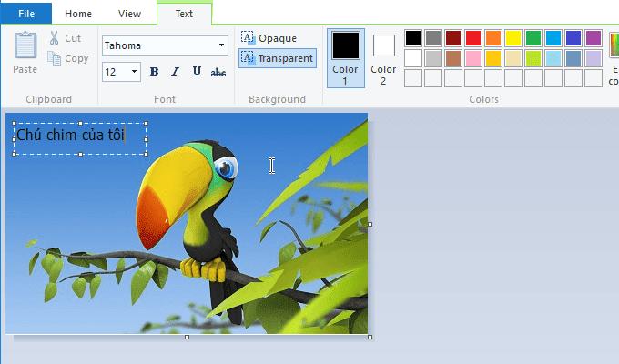 hướng dẫn dùng Paint để chèn text
