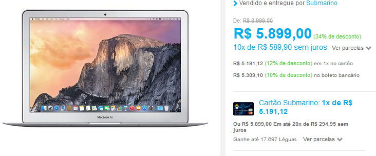 www.submarino.com.br/produto/122274341/macbook-air-mjve2bz-a-intel-core-i5-4gb-128gb-tela-widescreen-13.3-os-x-yosemite-prata-apple?opn=COMPARADORESSUB&franq=AFL-03-171644