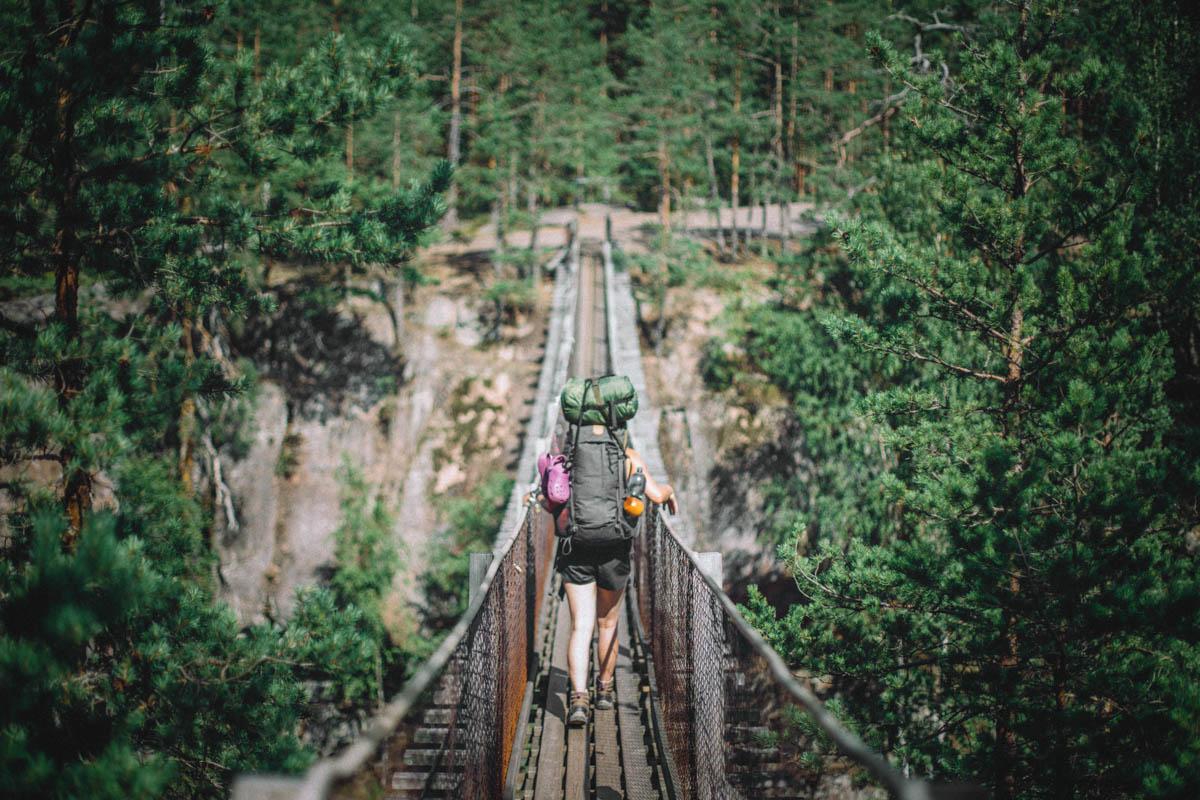 Ensimmäisten metrien aikana Repoveden kansallispuistossa tulee vastaan tulee kuuluisa Lapinsalmen riippusilta, joka avaa upeat maisemat reitille.