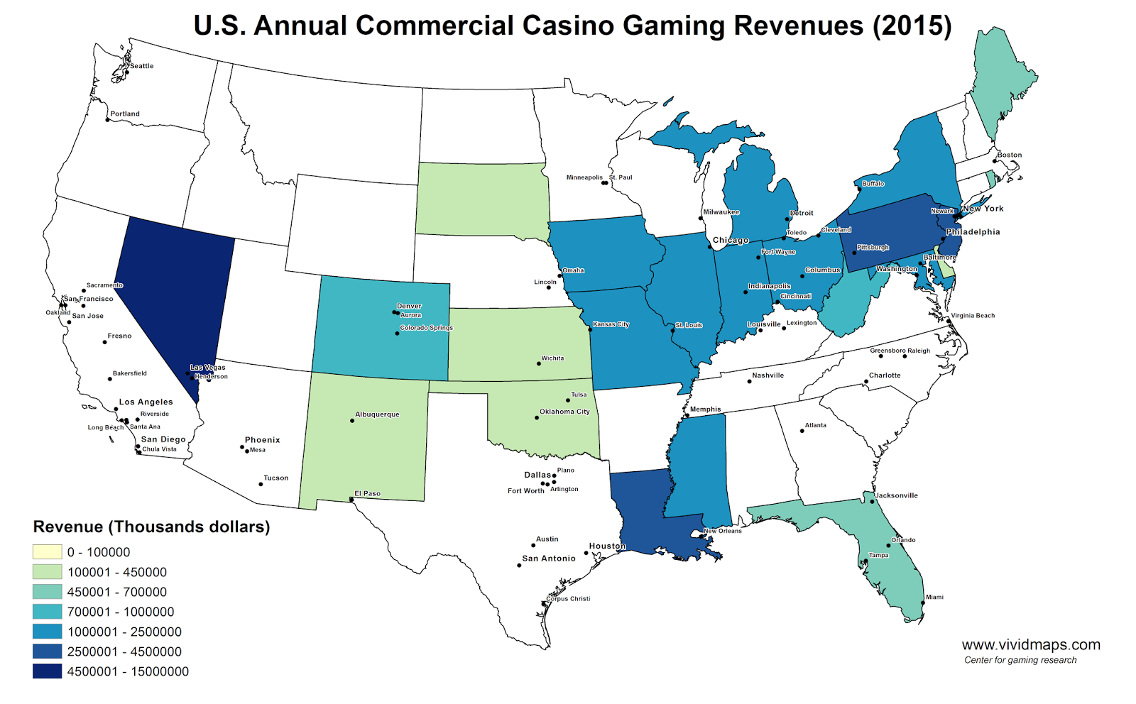 U.S. Annual Commercial Casino Gaming Revenues (2015)