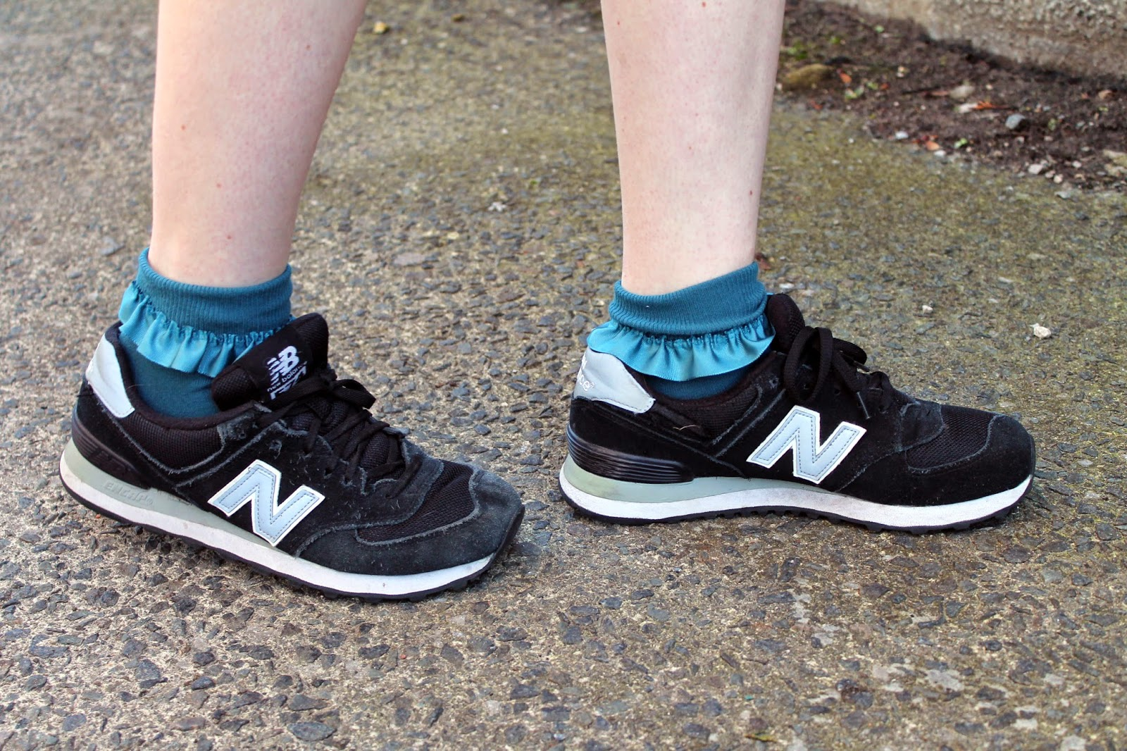 bank ankle socks with frill and new balance 574s