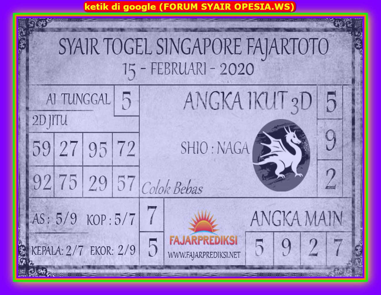 Kode syair Singapore Sabtu 15 Februari 2020 84