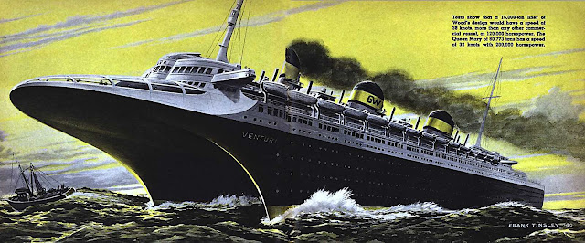 a Frank Tinsley giant catamaran future passenger ship illustration