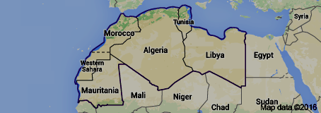 Map of The Maghreb, or the Greater Maghreb, usually defined as much or most of the region (including Marrakech, Morocco) of western North Africa, west of Egypt