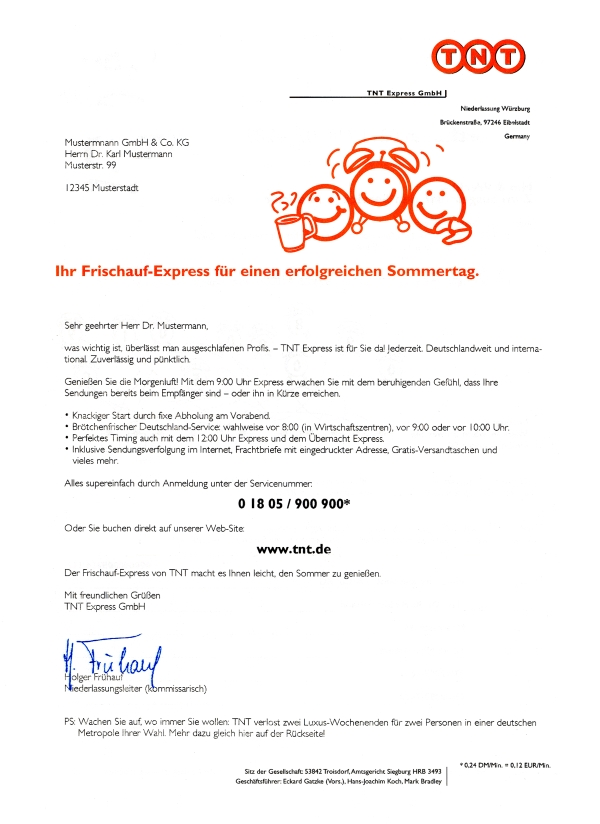 Werbebrief, Anschreiben, Direktwerbung, b2b, business-to-business Zielgruppe, Geschäftskunden, Unternehmer, Entscheider