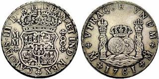 Moneda Real de a 8 del siglo XVIII