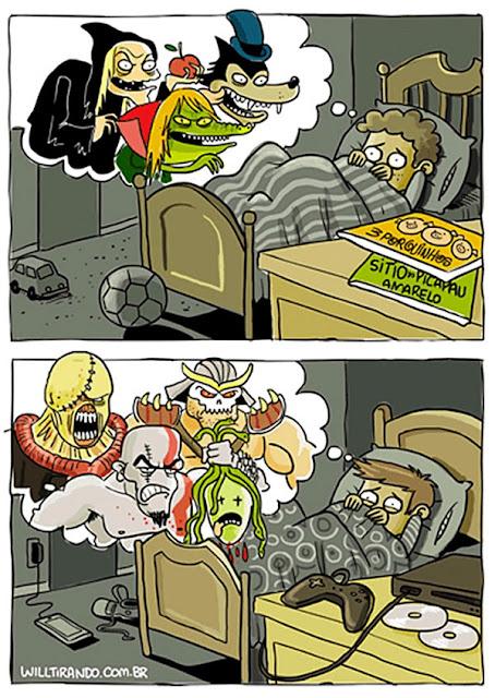 Meme sobre la evolución de las pesadillas en los niños