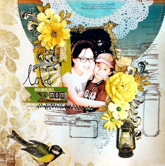 Love Being A Mom Layout by Irene Tan using BoBunny Trail Mix collection