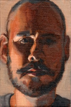 Oil painting of the face of a bald man with moustache and beard.