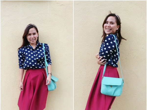 Outfit Diary: Love collared shirt + Red Midi Skirt