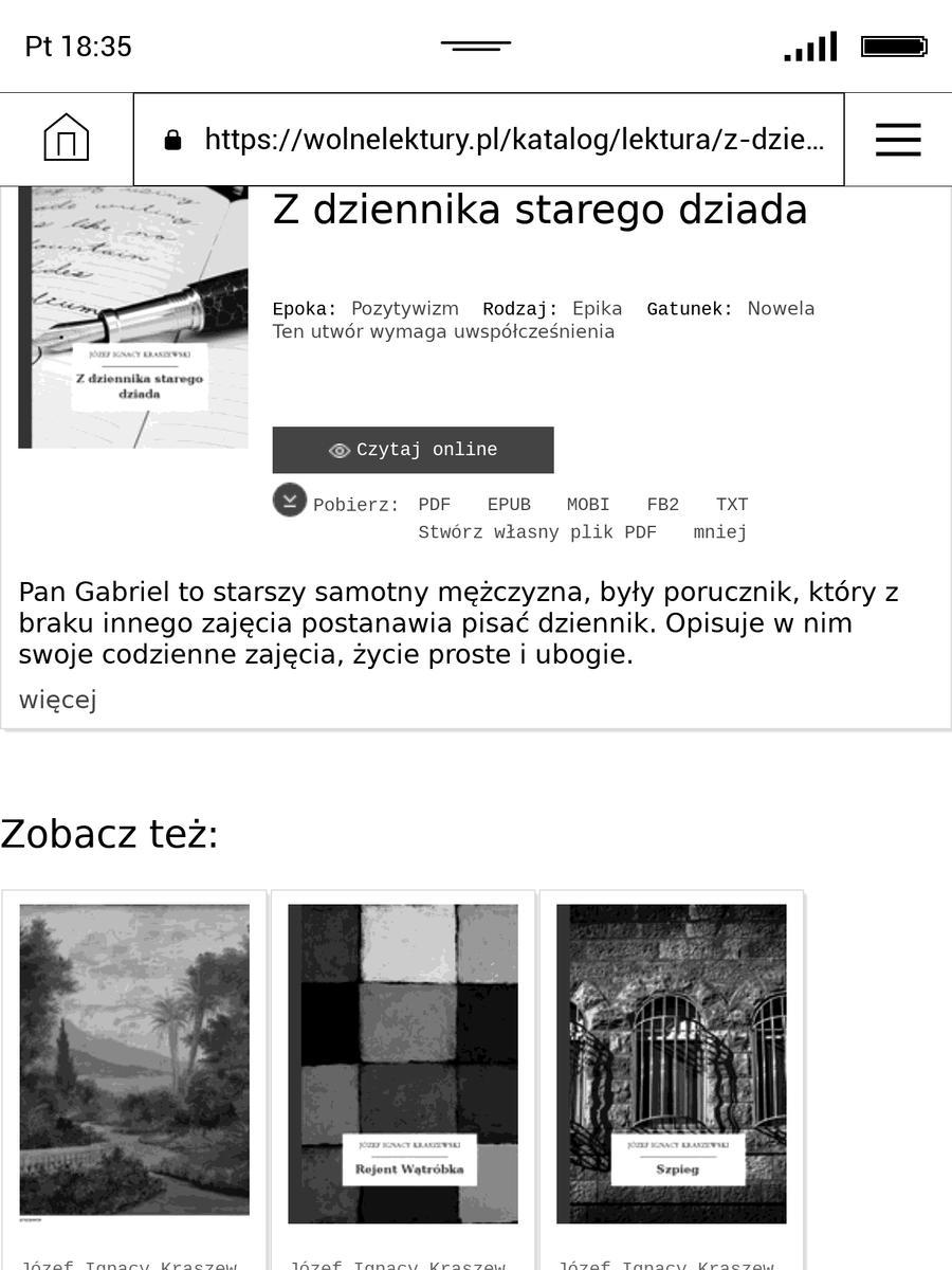 Serwis wolnelektury.pl w przeglądarce internetowej na PocketBook InkPad 3