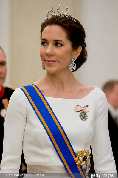 Crown Princess Mary of Denmark attends a State Banquet at Christiansborg Palace in Copenhagen, during The State visit of King Willem-Alexander, and Queen Maxima of The Netherlands