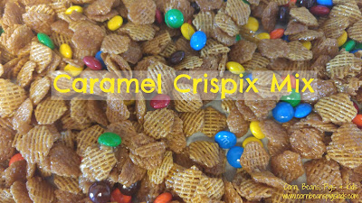 Caramel Crispix Mix - perfect for school snack, tailgating and holiday gatherings