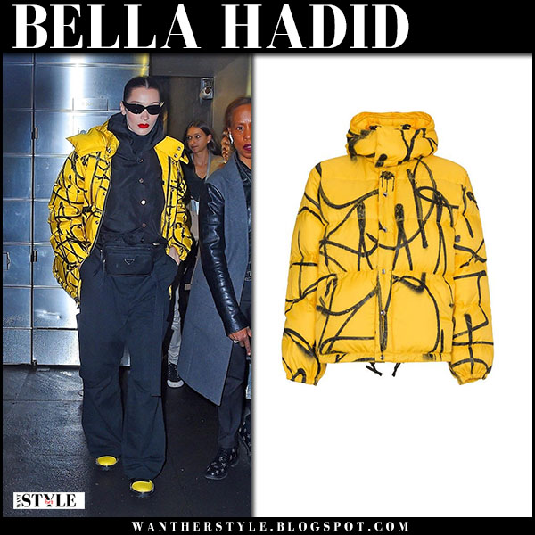 Bella Hadid in yellow printed puffer jacket adaptation saber new york fashion week outfits february 11