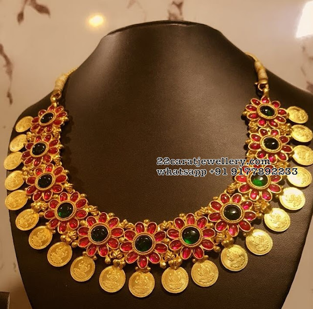 92.5Silver Ruby Floral Kasu Necklace